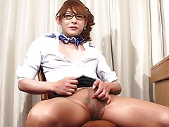 Aiko In Pantyhose Strokes Her Cock!